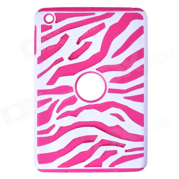 Zebra Style Protective Silicone Case for IPAD Mini / IPAD Mini 2 - White + Deep Pink