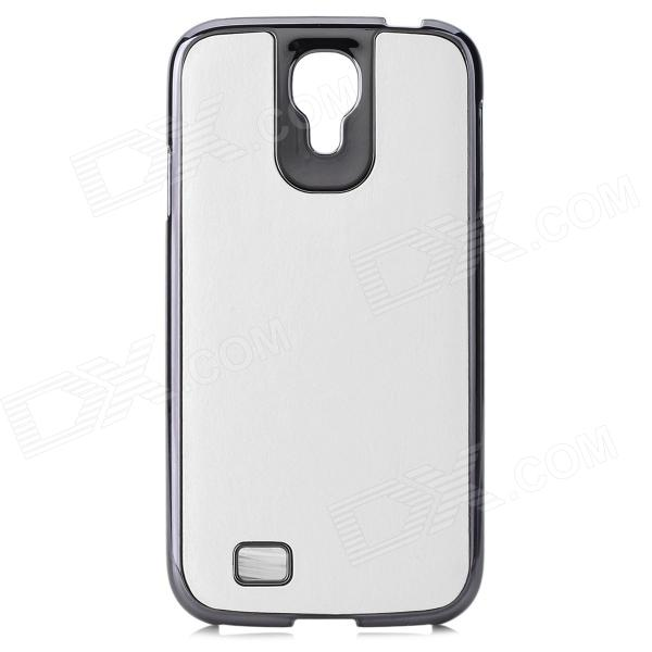 Protective PC + PU Leather Case for Samsung Galaxy S4 i9500 - White cm001 3d skeleton pattern protective plastic back case for samsung galaxy s4
