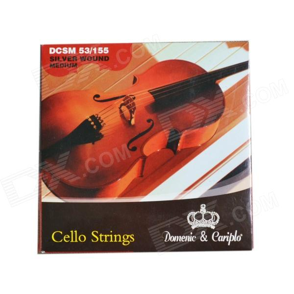 DEDO MA-73 Cello Strings + Steel 4-String Cello Strings - Silver (4 PCS)