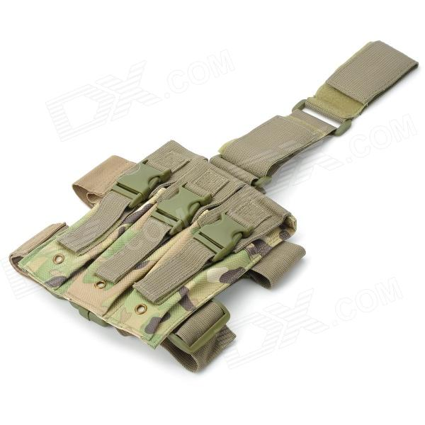 SW1008 Camouflage Pattern 600D Oxford Nylon 3-pocket Mp5 Pistol Thigh Pouch - Camouflage