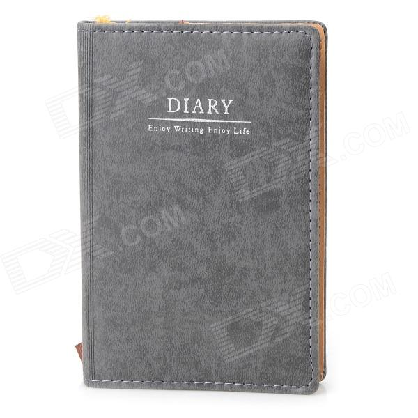 WH-1172 Artificial Leather Cover 72K Notebook Notepad - Grey + White