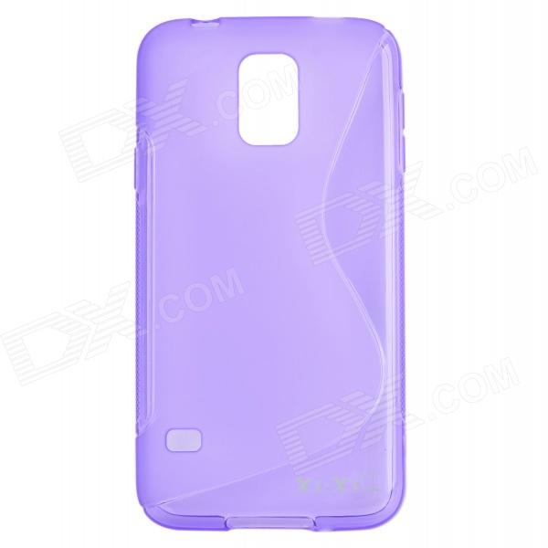 YI-YI S Style Anti-Slip Protective TPU Back Case for Samsung Galaxy S5 i9600 - Purple yi yi s shaped anti skid protective tpu back case for sony xperia e translucent grey