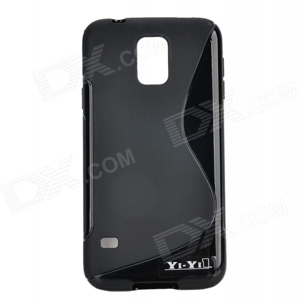 YI-YI S Style Anti-Slip Protective TPU Back Case for Samsung Galaxy S5 i9600 - Black yi yi s shaped anti skid protective tpu back case for sony xperia e translucent grey