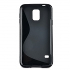 "YI-YI ""S"" Style Anti-Slip Protective TPU Back Case for Samsung Galaxy S5 i9600 - Black"