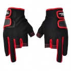 HANDCREW Fiber + Lycra Fishing Gloves - Black + Red (Pair)