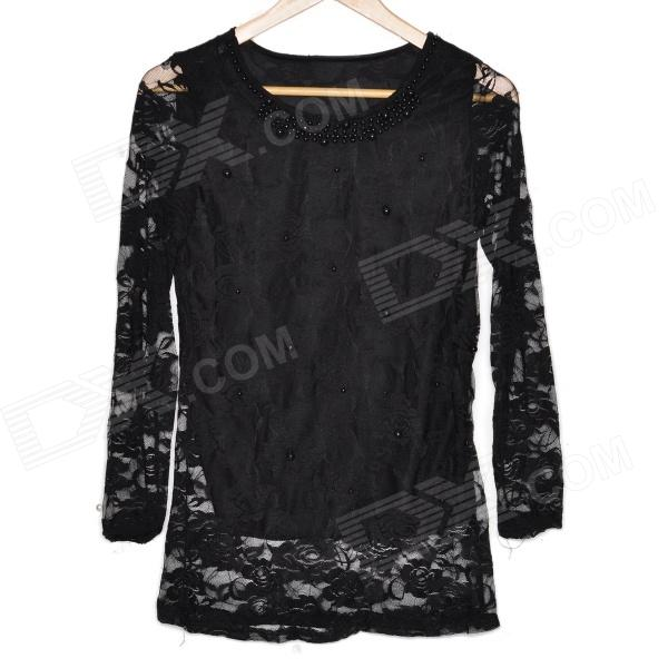 Lace Pearl Tops Shirt - Black (L)