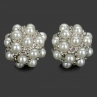 Pearl Balls Style Earrings - White + Silver (Pair)