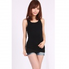 Casual Cotton Vest Top for Women - Black (Free Size)