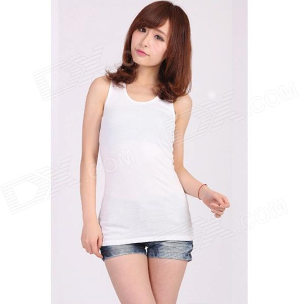 Casual Cotton Vest Top for Women - White (Free Size)