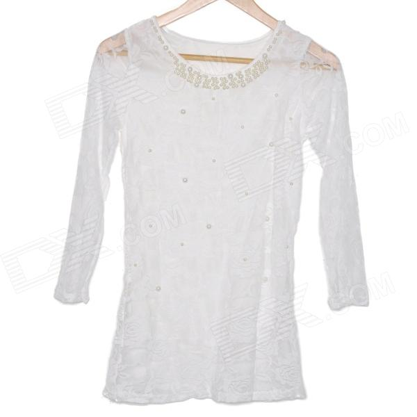 Lace Pearl Tops Shirt - White (M)