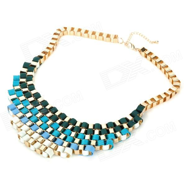 NC-7282 Stylish Zinc Alloy Short Necklace for Women - Blue + Golden