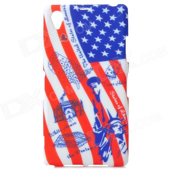 Graffiti US National Flag Style Statue of Liberty Pattern TPU Case for Sony Xperia Z1 - Blue + Red рожковый ключ 8 мм heyco he 00894008036