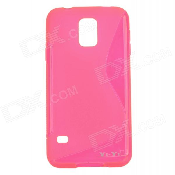 YI-YI S Style Anti-Slip Protective TPU Back Case for Samsung Galaxy S5 i9600 - Deep Pink yi yi s shaped anti skid protective tpu back case for sony xperia e translucent grey