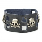 SDPD001 Fashion Punk Skull Wide PU Leather Bracelet - Black + Metal Grey