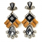 ER-3835 Water Drop Style Zinc Alloy w/ Rhinestones Dangle Earrings for Women - Black + Yellow (Pair)