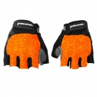 HANDCREW Cycling Anti-slip Half Finger Gloves - Orange + Black + Multi-Colored (Size M / Pair)