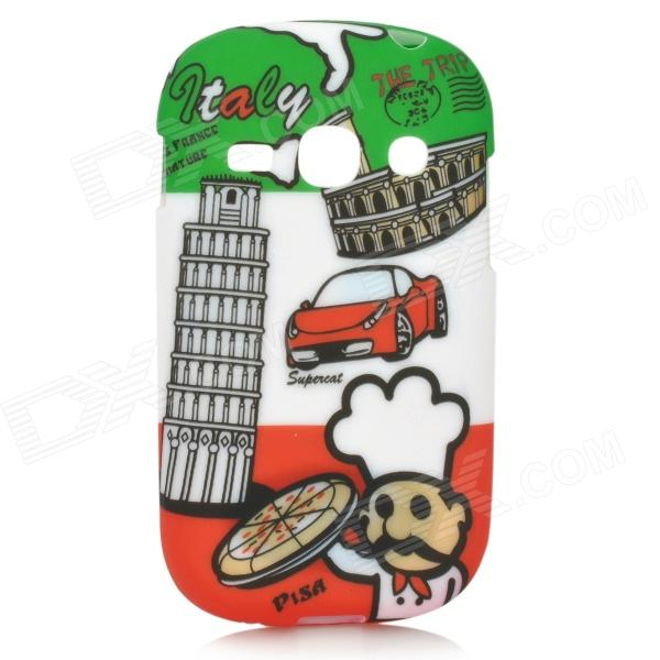 Italian Flag Style Graffiti Leaning Tower of Pisa Pattern Case for Samsung S6812 / S6810 - Green italian visual phrase book