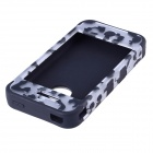 HM01 Spot Pattern Protective Silicone Back Case for IPHONE 4 / 4S - White + Black