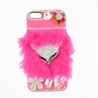 Fashionable Plastic + Rabbit Hair + Rhinestone Fox Head Back Case for IPHONE 5 / 5S - Pink