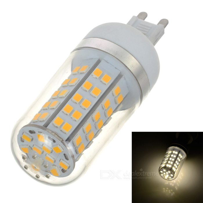 HZLED G9 7W 770lm 3000K 80-SMD 2835 LED Warm White Bulb - White + Silver (AC85~265V) honsco e27 5w 400lm 3000k 84 smd 2835 led warm white light bulb white silver ac 85 265v