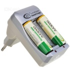 BTY BTY-809 Convenient EU Plug Battery Charger w/ 4 x AA Batteries - White + Green