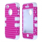 HM01 Lovely Heart Pattern Protective Silicone Back Case for IPHONE 4 / 4S - Pink + White
