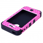 HM01 Lovely Heart Pattern Protective Silicone Back Case for IPHONE 4 / 4S - Black + Pink