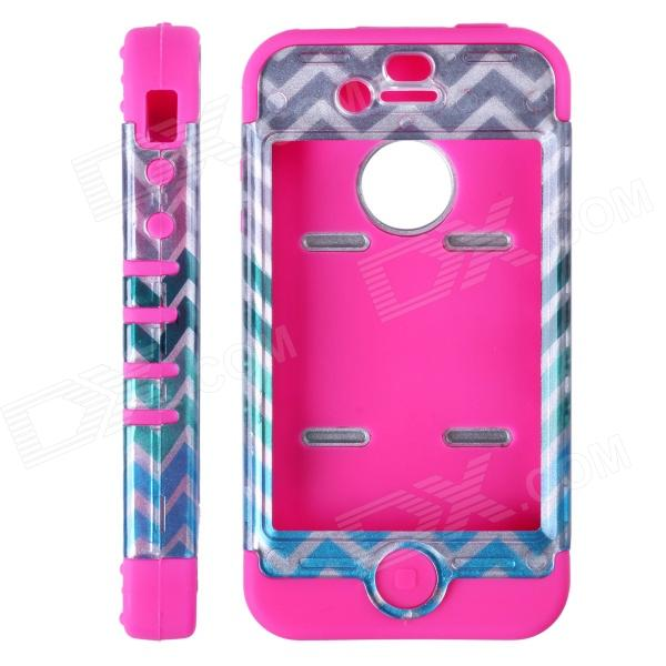 HM01 Zigzag Anchor Pattern Protective Silicone Back Case for IPHONE 4 / 4S - Black + Fuschia