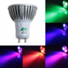 Zweihnde RGBJ08 GU10 3W 150lm RGB Light 3-LED Spotlight w/ Remote Control - Silver (85~265V)