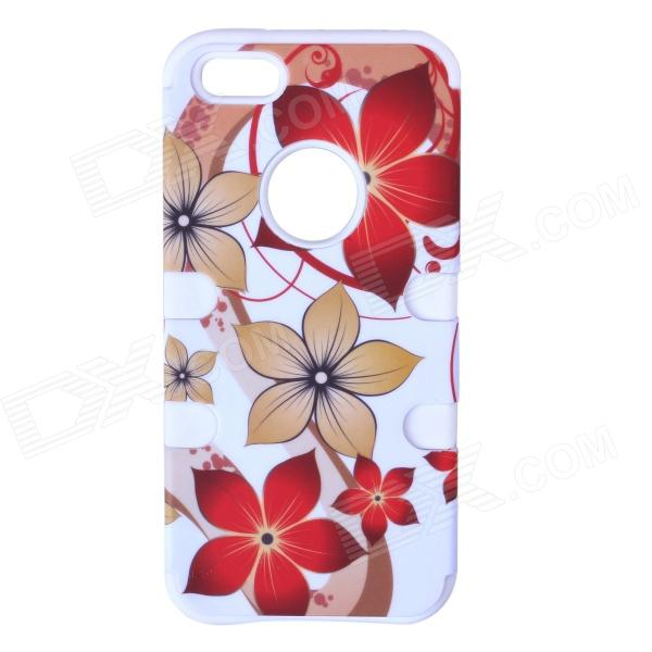 HM01 Lovely Flower Pattern Protective Silicone Back Case for IPHONE 5 - White + Red