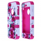 HM01 Morning Glory Flower Pattern Protective Silicone Case for IPHONE 5 - White + Dark Pink