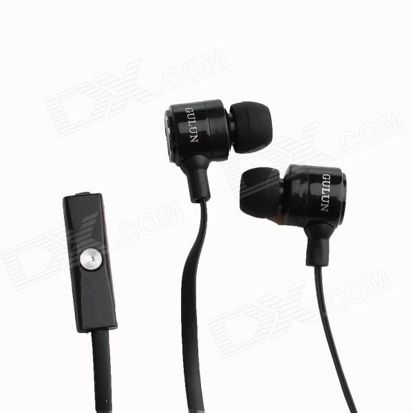 GULUN GL-888 In-Ear Earphone with Microphone for IPHONE / IPAD + More - Black (3.5mm Plug) original xiaomi mi hybrid earphone in ear 3 5mm earbuds piston pro with microphone wired control for samsung huawei p10 s8