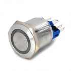 22mm Stainless Steel Self-Lock Power Button Switch - Silver
