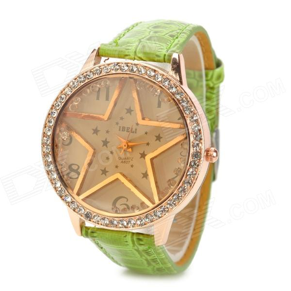 Creative Star Pattern Zinc Alloy Case PU Band Quartz Analog Wrist Watch for Women - Green + Brown