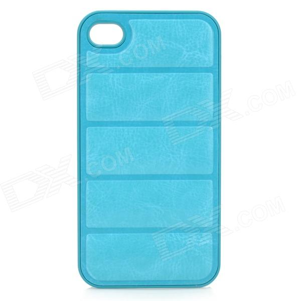 NEWTONS Protective PU Leather + Plastic Back Case for IPHONE 4 / 4S - Light Blue protective pu leather plastic case w display window for iphone 4 4s maroon