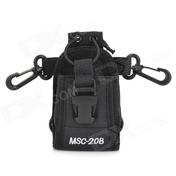 Universal Nylon Adjustable Shoulder / Strap / Waist Bag for Walkie Talkie - Black
