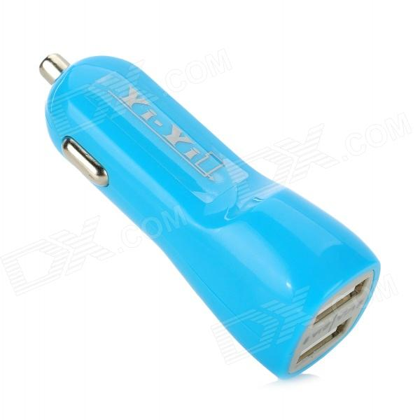 YI-YI 5V 1 / 2.1A Dual USB Mini Car Charger for Tablets / Cellphones - Blue (12~24V)