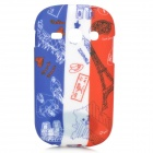 Graffiti French Flag Style Eiffel Tower Pattern TPU Case for Samsung Fame S6812 / S6810 - Blue + Red