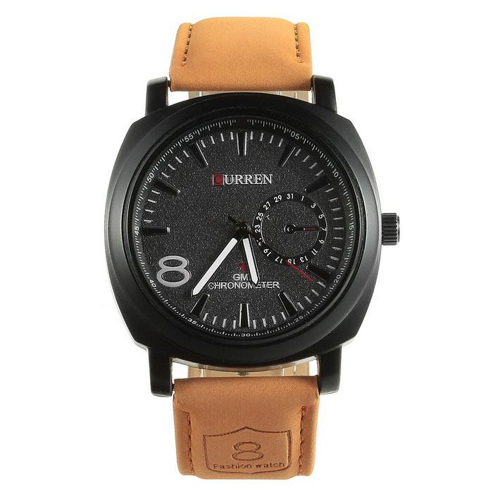 CURREN 8139 Fashion PU Leather Band Quartz Analog Wrist Watch for Men - Brown + Black (1 x 626) curren 8103 fashion men s stainless steel band quartz wrist watch w calendar white 1 x 626