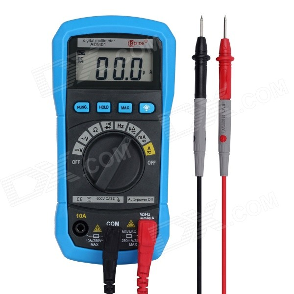 BSIDE ADM01 Auto Range Mini Digital Multimeter w/ Backlight / HZ / Max. Value - Black + Blue 100% original fluke 15b f15b auto range digital multimeter meter dmm