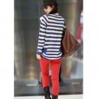 Women's Casual Loose Striped Knit Sweater - Blue + White