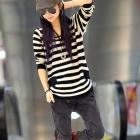 CZC Women's Casual Loose Striped Knit Sweater - Black + White