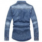 Men's Tight Fit Cowboy Long-Sleeved Shirt - Blue (L)