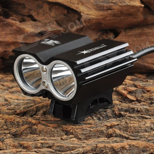 Bicycle 1500lm Cool White 2-LED 4-Mode Bike Front Head Light - Black 6000lumens bike bicycle light cree xml t6 led flashlight torch mount holder warning rear flash light