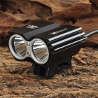 Bicycle 1500lm Cool White 2-LED 4-Mode Bike Front Head Light - Black