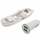 Dual-USB Car Charger + Micro USB 9-Pin Data Sync / Charging Cable for Samsung Galaxy Note 3 - White