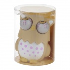Funny Rolling Eyeballs Pop-out Owl Silicone Stress Reliever Toy - Beige + White