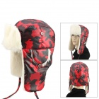 qingfang B12069 Cashmere Wool Warm Hat for Women - White + Red + Multi-Colored