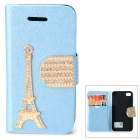 PUDINI WB-U4S Rhinestone Eiffel Tower Style PU Leather Case for IPHONE 4 / 4S - Blue + Golden