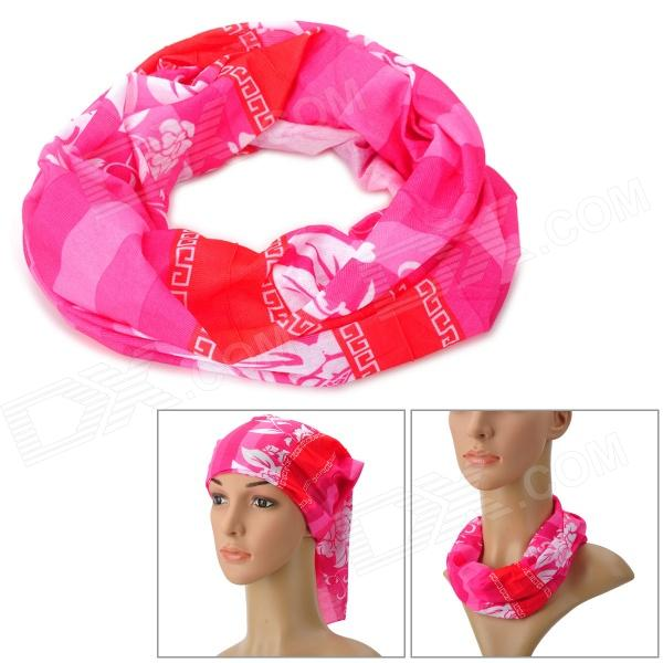 Acacia 6032504 Outdoor Sports Polyester Seamless Head Scarf for Women - Red + Orange + Multicolored